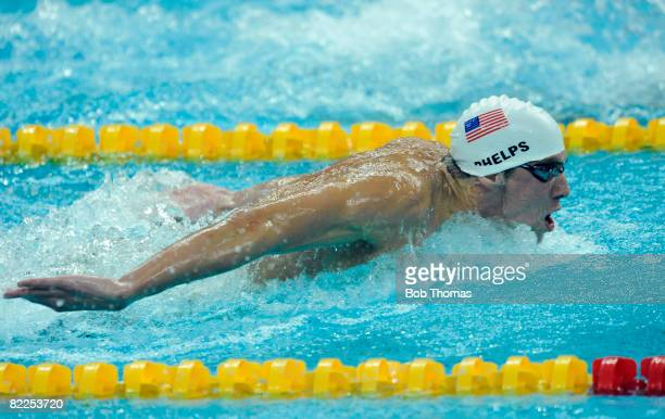 Michael Phelps of the United States competes in the Men's 200m Butterfly Heat 6 held at the National Aquatics Center on Day 3 of the Beijing 2008...
