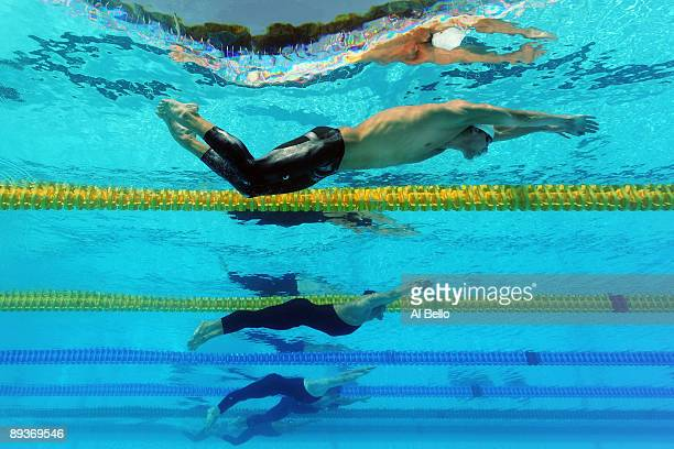 Michael Phelps of the United States competes in the Men's 200m Butterfly Heats during the 13th FINA World Championships at the Stadio del Nuoto on...