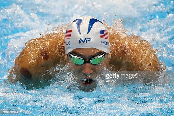 Michael Phelps of the United States competes in the Men's 200m Individual Medley heat on Day 5 of the Rio 2016 Olympic Games at the Olympic Aquatics...