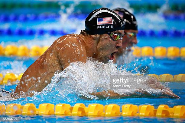 Michael Phelps of the United States competes in the Men's 200m Individual Medley Final on Day 6 of the Rio 2016 Olympic Games at the Olympic Aquatics...