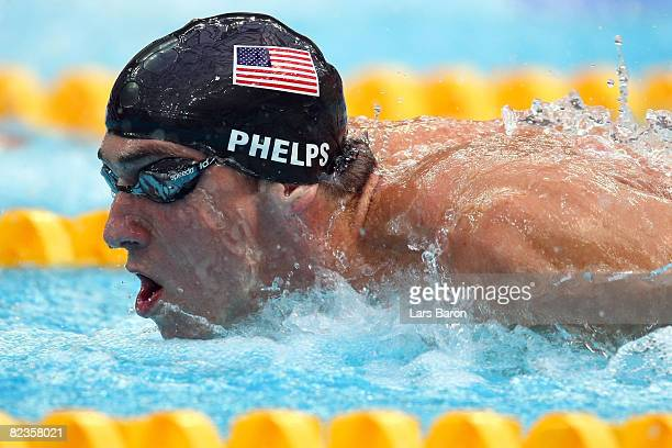 Michael Phelps of the United States competes in the Men's 200m Individual Medley Final at the National Aquatics Center on Day 7 of the Beijing 2008...