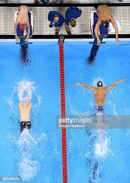 Michael Phelps of the United States competes in the Men's 4 x 100m Medley Relay Final on Day 8 of the Rio 2016 Olympic Games at the Olympic Aquatics...