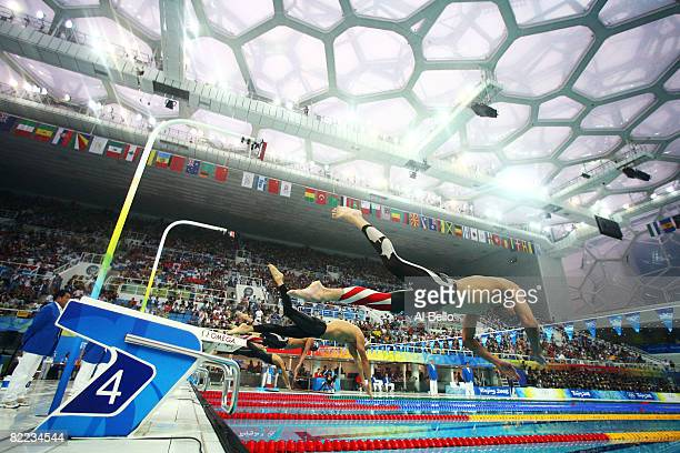 Michael Phelps of the United States competes in the Men's 400m Individual Medley Final event held at the National Aquatics Center during day 2 of the...