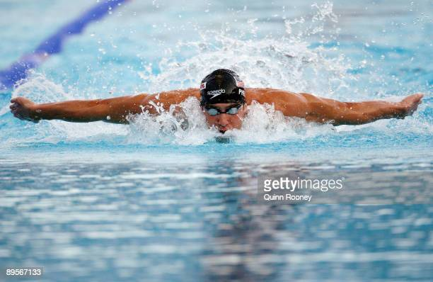 Michael Phelps of the United States competes in the Men's 4x 100m Medley Relay Final during the 13th FINA World Championships at the Stadio del Nuoto...