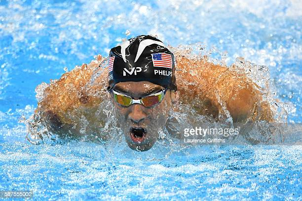 Michael Phelps of the United States competes in the second Semifinal of the Men's 200m Butterfly on Day 3 of the Rio 2016 Olympic Games at the...