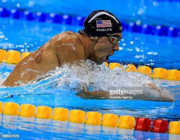 Michael Phelps of the United States competes in the second Semifinal of the Men's 200m Individual Medley within the Rio 2016 Olympic Games in Rio de...