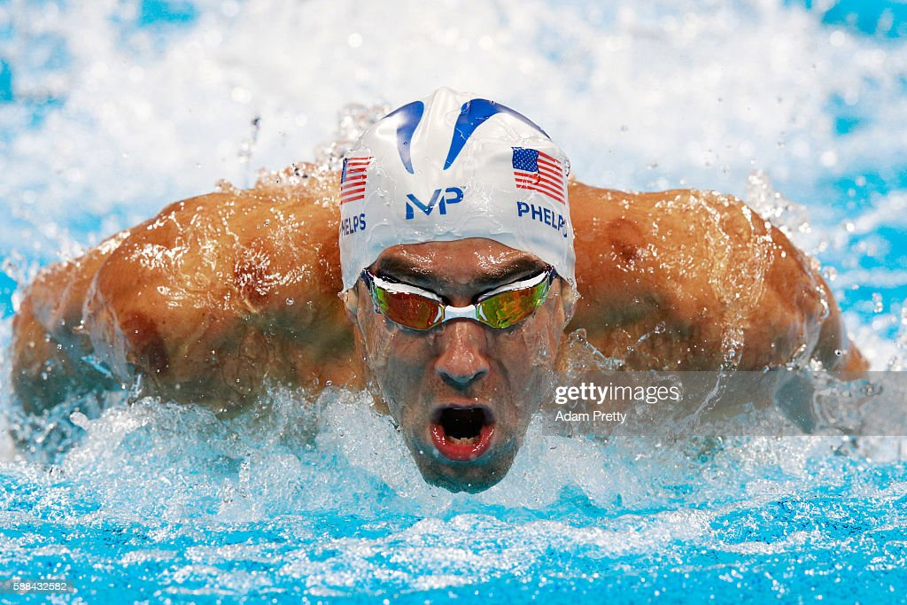 Michael Phelps of the United States competes Men's 100m Butterfly heat on Day 6 of the Rio 2016 Olympic Games at the Olympic Aquatics Stadium on August 11, 2016 in Rio de Janeiro, Brazil.