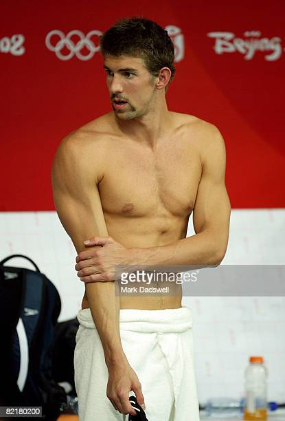 Michael Phelps of the United States gets ready to practice at the National Aquatics Center ahead of the Beijing 2008 Olympic Games on August 5 2008...
