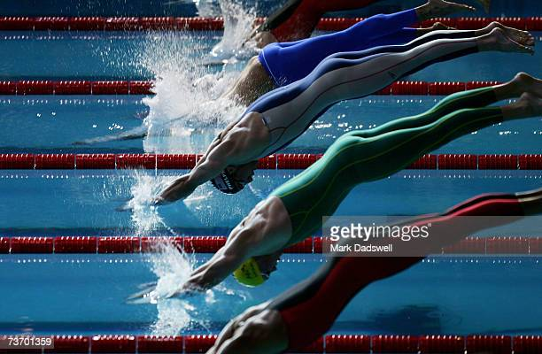 Michael Phelps of the United States of America dives into the pool during the Men's 200m Freestyle semifinal during the XII FINA World Championships...