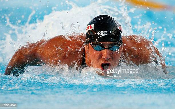 Michael Phelps of the United States on his way to victory in the Men's 100m Butterfly Final during the 13th FINA World Championships at the Stadio...