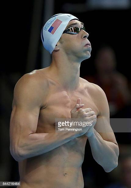 Michael Phelps of the United States prepares to compete in a final heat for the Men's 200 Meter Individual Medley during Day Six of the 2016 US...