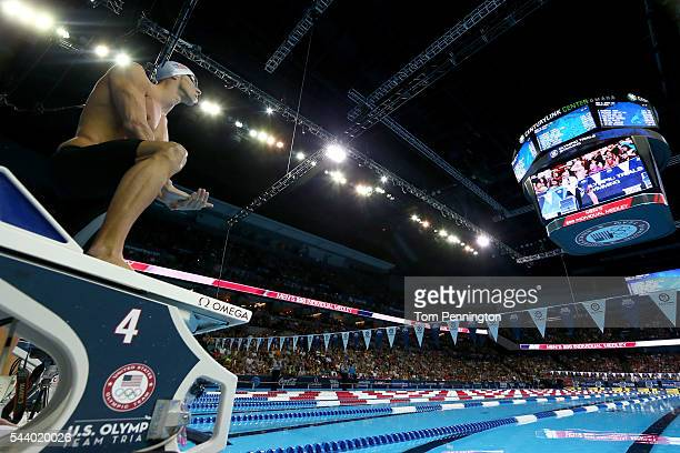 Michael Phelps of the United States prepares to compete in a semifinal heat for the Men's 200 Meter Individual Medley during Day Five of the 2016 US...