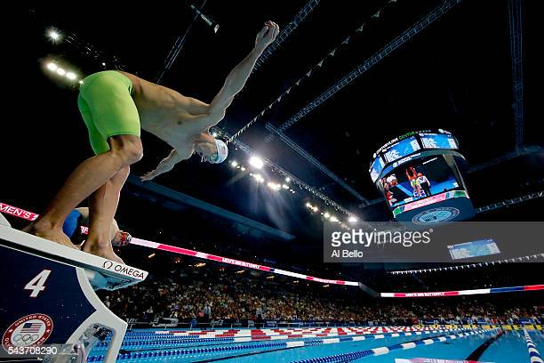 Michael Phelps of the United States prepares to compete in the final heat for the Men's 200 Meter Butterfly during Day Four of the 2016 US Olympic...