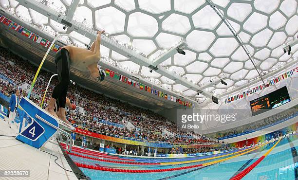 Michael Phelps of the United States prepares to compete in the Men's 100m Butterfly Semifinal held at the National Aquatics Centre during Day 7 of...
