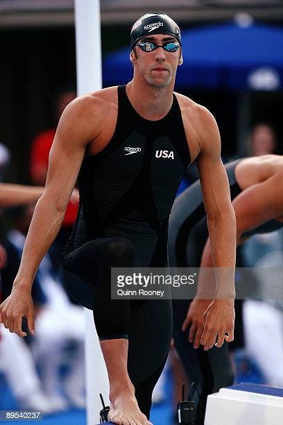 Michael Phelps of the United States prior to the Men's 100m Butterfly Semi Final during the 13th FINA World Championships at the Stadio del Nuoto on...