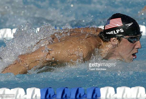 Michael Phelps of the United States swims en route to winning the 200 meter Individual Medley during the Mutual of Omaha Duel in the Pool against...
