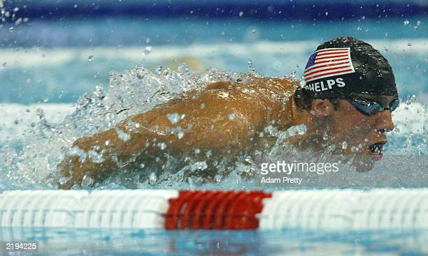 Michael Phelps of the USA in action as he goes on to set a new world record during the Men's 200m Individual Medley during the 10th Fina World...