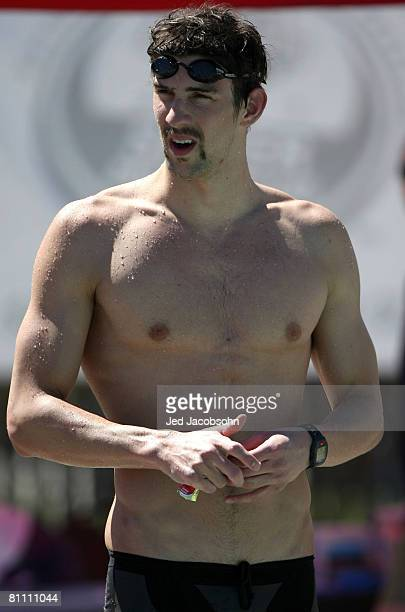 Michael Phelps of the USA looks on after the 400m medley at a preliminary round during the Santa Clara XLI International Swim Meet part of the 2008...