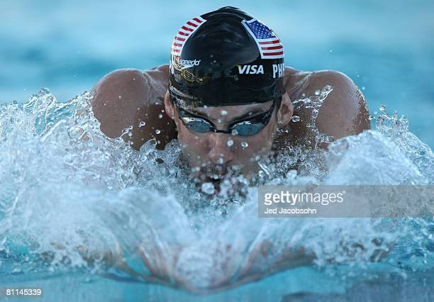 Michael Phelps of the USA swims in the final of the 200m IM during the Santa Clara XLI International Swim Meet part of the 2008 USA Swimming Grand...