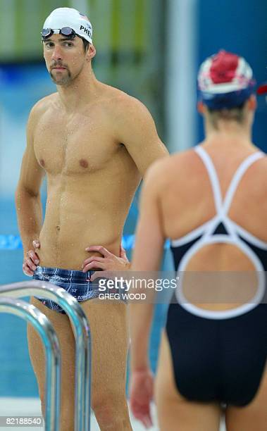 Michael Phelps of the USA takes part in a training session at the National Aquatics Center also known as the Bird's Nest in preparation for the...