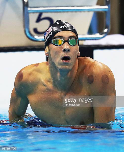 Michael Phelps of United States celebrates winning the Men's 200m Butterfly and his 20th Olympic Gold medal on Day 4 of the Rio 2016 Olympic Games at...