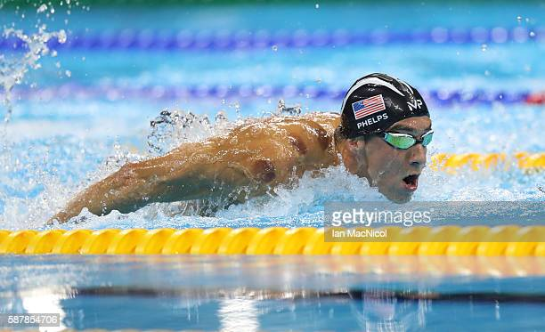 Michael Phelps of United States on his way to winning the Men's 200m Butterfly and his 20th Olympic Gold medal on Day 4 of the Rio 2016 Olympic Games...