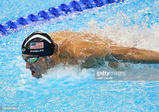 Michael Phelps of USA competes in the Men's 100m Butterfly final on day 7 of the Rio 2016 Olympic Games at Olympic Aquatics Stadium on August 12 2016...
