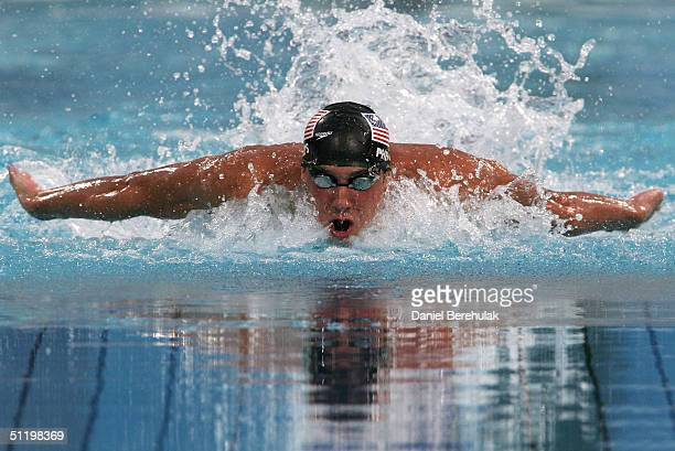 Michael Phelps of USA competes in the men's swimming 100 metre butterfly final on August 20 2004 during the Athens 2004 Summer Olympic Games at the...