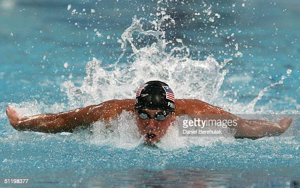 Michael Phelps of USA competes in the men's swimming 100 metre butterfly final on August 20, 2004 during the Athens 2004 Summer Olympic Games at the...