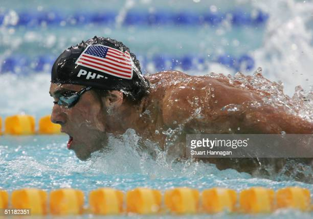 Michael Phelps of USA competes in the men's swimming 200 metre butterfly final on August 17, 2004 during the Athens 2004 Summer Olympic Games at the...