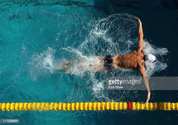 Michael Phelps practices the butterfly in the practice pool during day 4 of the Santa Clara International Grand Prix at George F Haines International...