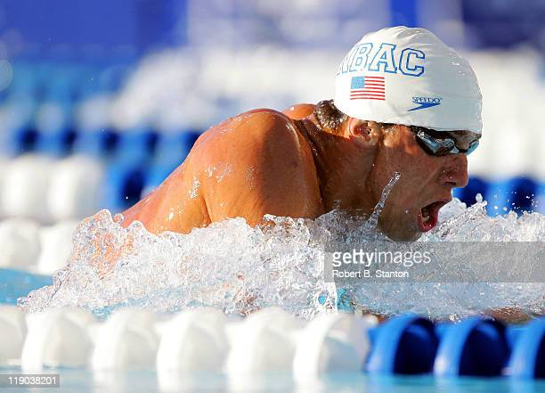 Michael Phelps qualified first for the men's 200 M IM Finals at the Finals and Semi Finals at the US Olympic Swimming Team Trials at the Charter All...