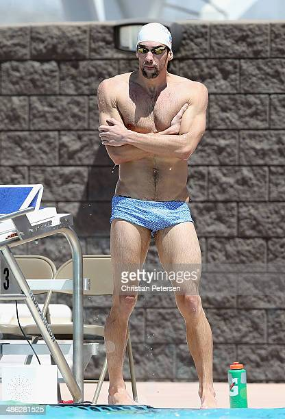 Michael Phelps rests as he practices for the Arena Grand Prix at the Skyline Aquatic Center on April 23 2014 in Mesa Arizona
