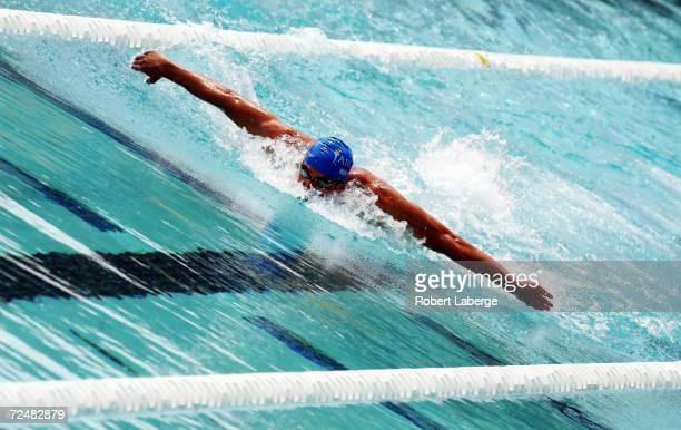 Michael Phelps swims during the Men's 200 Meter Individual Medley Preliminary swim at the Santa Clara XXXVII International Swim Meet on May 23, 2004...