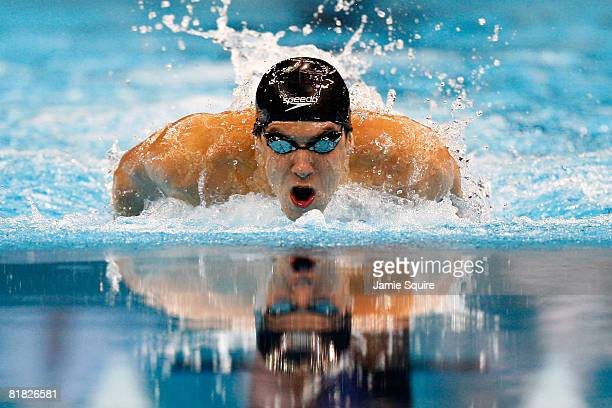 Michael Phelps swims en route to winning the final of the 200 meter individual medley and setting a new world record of 1:54.80 during the U.S....
