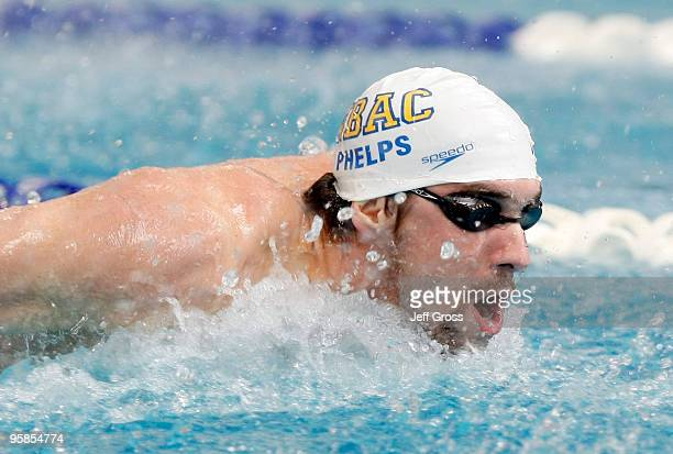 Michael Phelps swims in the Men's 100 Butterfly Prelim during the Long Beach Grand Prix on January 18 2010 in Long Beach California