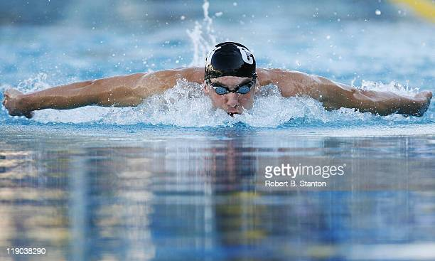 Michael Phelps won the Men's 400 Individual Medley in a time of 41140 at the 39th Santa Clara International Swim Meet Santa Clara California June 23...