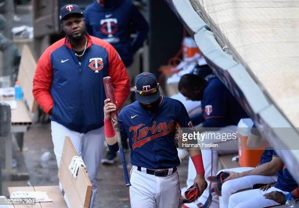 Michael Pineda and Marwin Gonzalez of the Minnesota Twins walk through the dugout after being defeated by the Houston Astros in Game Two in the...
