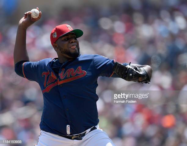 Michael Pineda of the Minnesota Twins delivers a pitch against the Texas Rangers during the second inning of the game on July 6 2019 at Target Field...