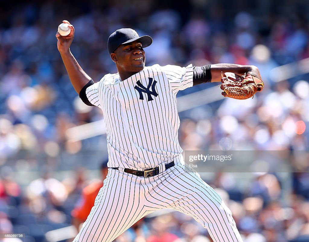 Michael Pineda #35 of the New York Yankees delivers a pitch in the first inning against the Houston Astros on August 26, 2015 at Yankee Stadium in the Bronx borough of New York City.