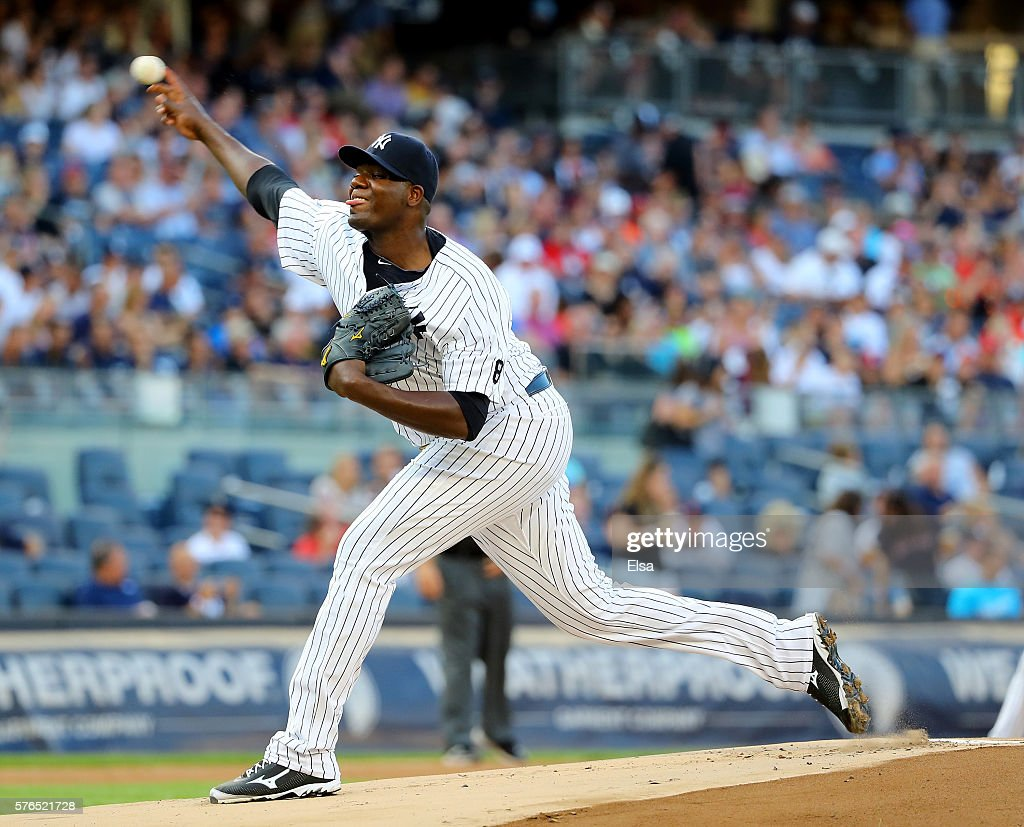 Michael Pineda #35 of the New York Yankees delivers a pitch in the first inning against the Boston Red Sox at Yankee Stadium on July 15, 2016 in the Bronx borough of New York City.