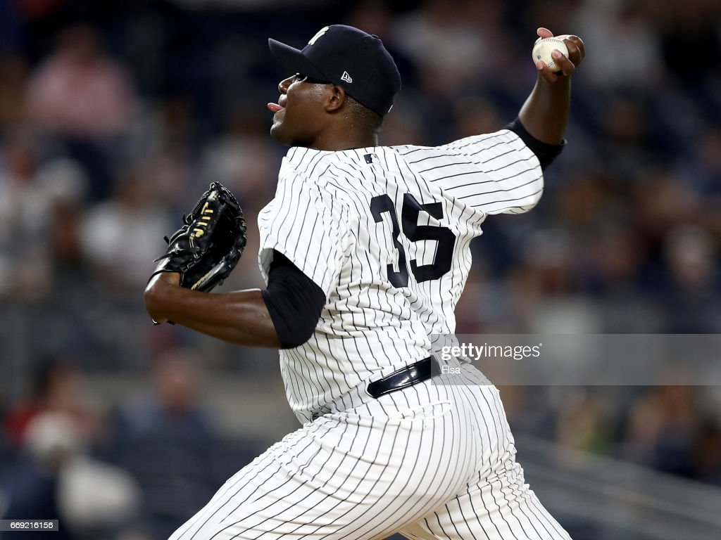 Michael Pineda #35 of the New York Yankees delivers a pitch in the first inning against the St. Louis Cardinals on April 16, 2017 at Yankee Stadium in the Bronx borough of New York City.