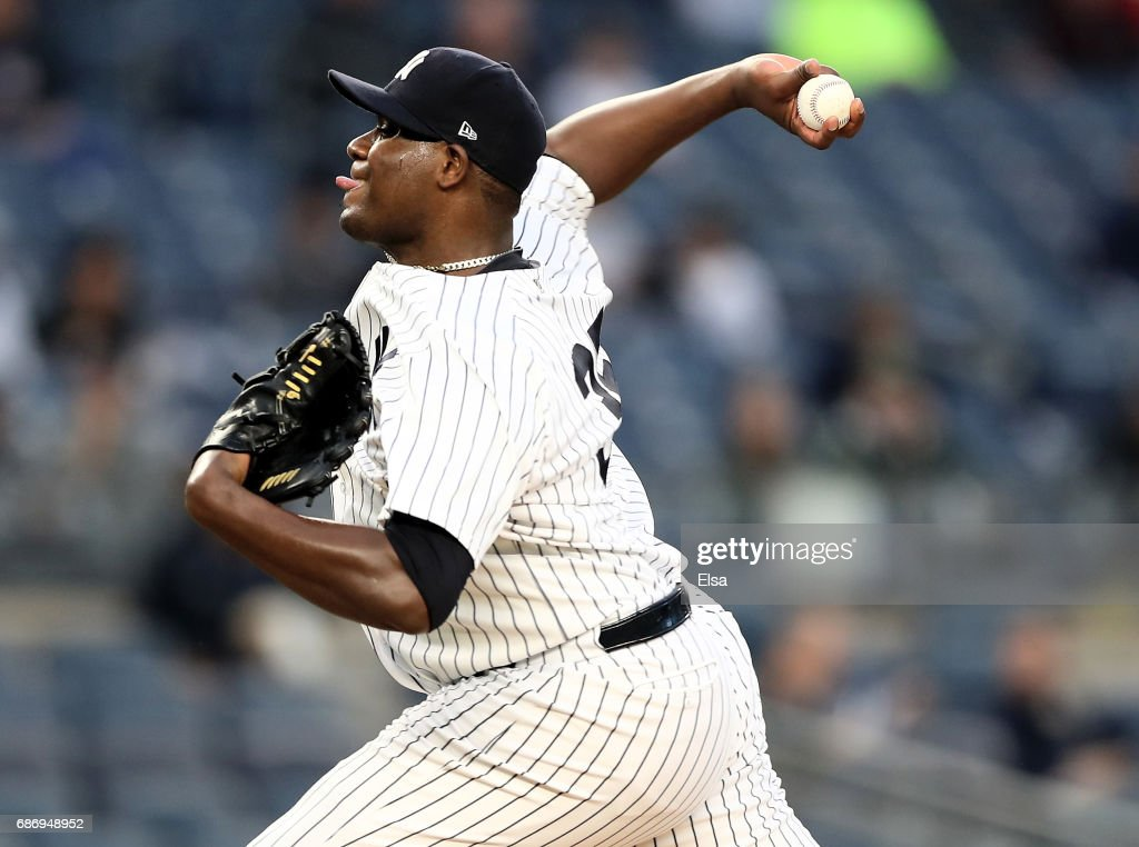 Michael Pineda #35 of the New York Yankees delivers a pitch in the first inning against the Kansas City Royals on May 22, 2017 at Yankee Stadium in the Bronx borough of New York City.