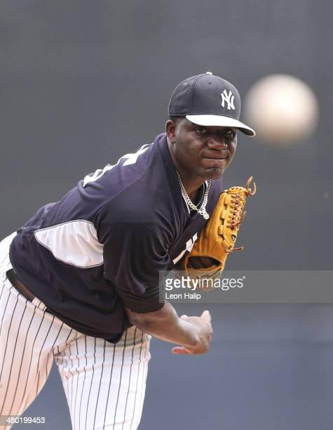 Michael Pineda of the New York Yankees pitches in the third inning of the game against the Toronto Blue Jays at George M Steinbrenner Field on March...