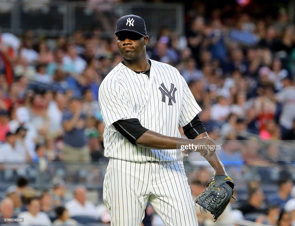 Michael Pineda #35 of the New York Yankees reacts after giving up a two run home run in the fifth inning to Travis Shaw of the Boston Red Sox at Yankee Stadium on July 15, 2016 in the Bronx borough of New York City.