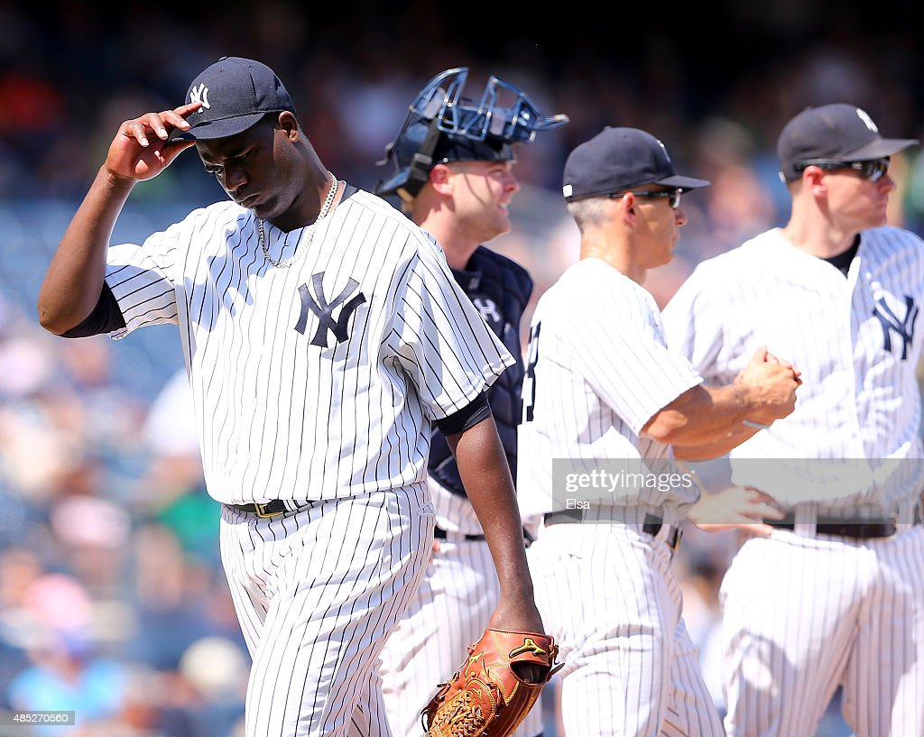 Michael Pineda #35 of the New York Yankees walks back to the dugout after he is pulled in the fifth inning against the Houston Astros on August 26, 2015 at Yankee Stadium in the Bronx borough of New York City.