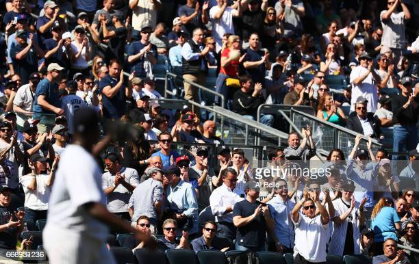 Michael Pineda of the New York Yankees who had a no hitter acknowledges the croud after giving up a hit in the seventh inning against the Tampa Bay...