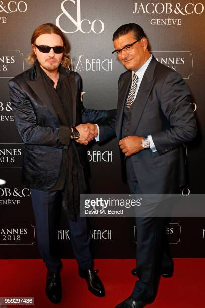 Michael Pitt and Jacob Arabo attend the Jacob Co Cannes 2018 party at Nikki Beach on May 16 2018 in Cannes France