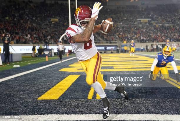 Michael Pittman Jr #6 of the USC Trojans catches a touchdown pass over Elijah Hicks of the California Golden Bears during the second quarter of an...