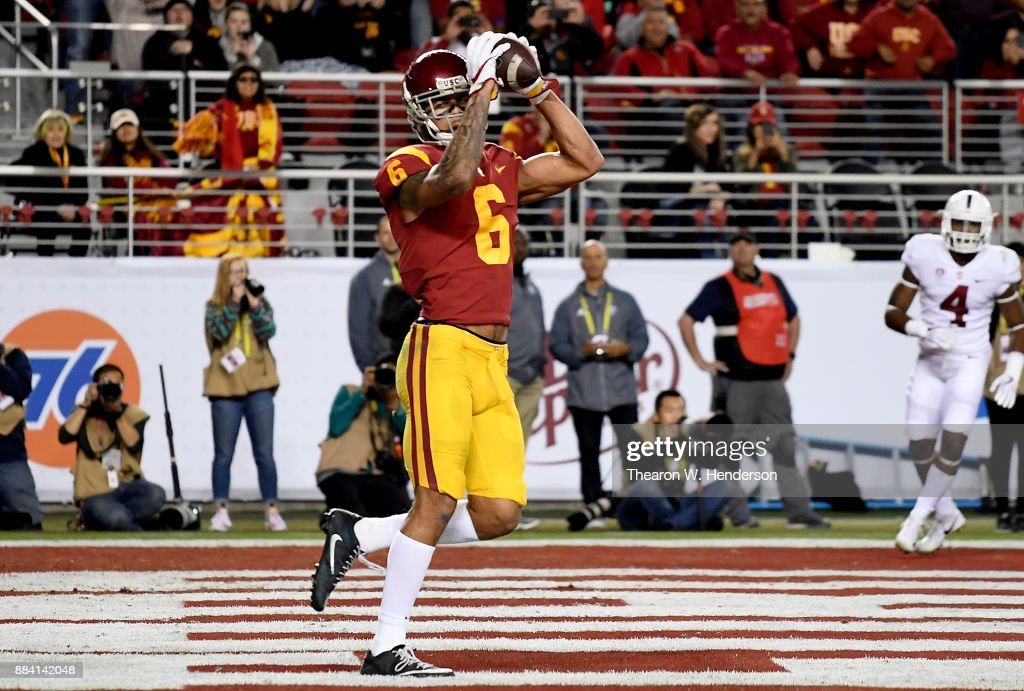Michael Pittman Jr. #6 of the USC Trojans catches a touchdown pass against the Stanford Cardinal during the Pac-12 Football Championship Game at Levi's Stadium on December 1, 2017 in Santa Clara, California.